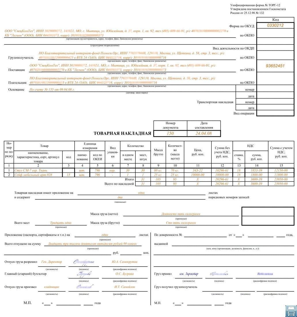 Инструкция по заполнению Товарной Накладной Торг-12
