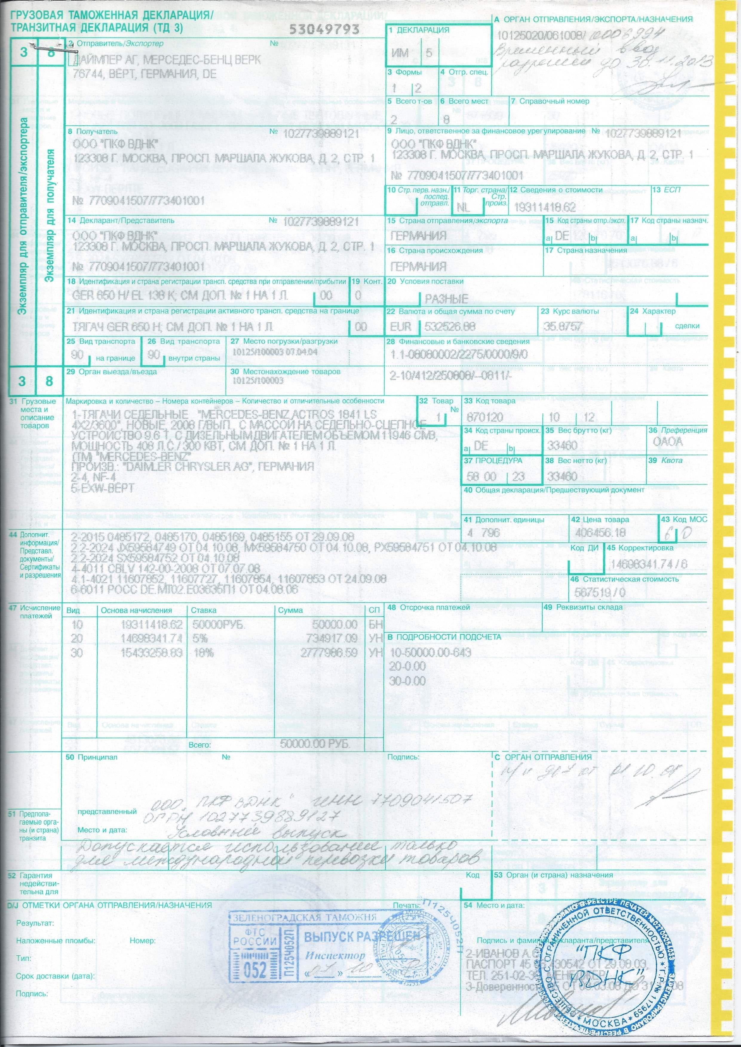 Инструкция о порядке заполнения грузовой таможенной декларации