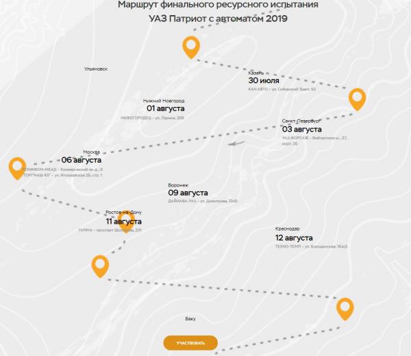 Маршрут тест-драйва УАЗ Патриот с АКПП