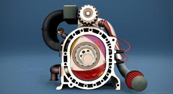 Роторный двигатель в разрезе