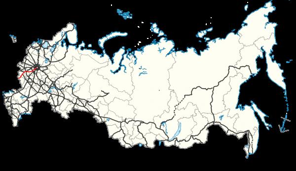 Карта России с М2 «Крым»
