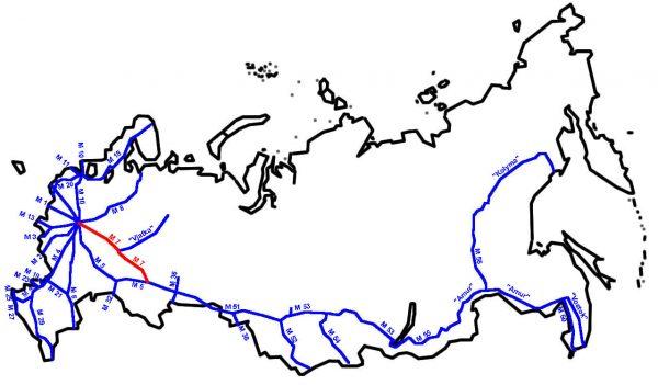 М7 «Волга» на карте России