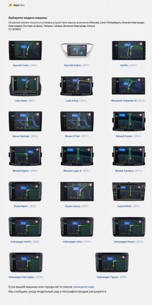 Бортовые компьютеры «Яндекс» для разных моделей авто