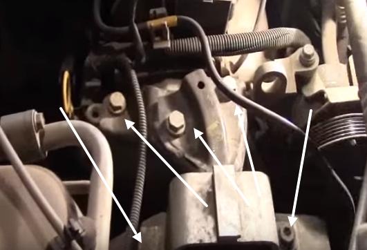 Крепление опоры двигателя